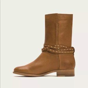 NEW Frye Cara Pickstitch Mid Boots Size 8